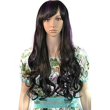 Pelucas Coloridas De Mujer, Flequillo Inclinado, Pelo Largo Y Rizado, Rosa Negra,