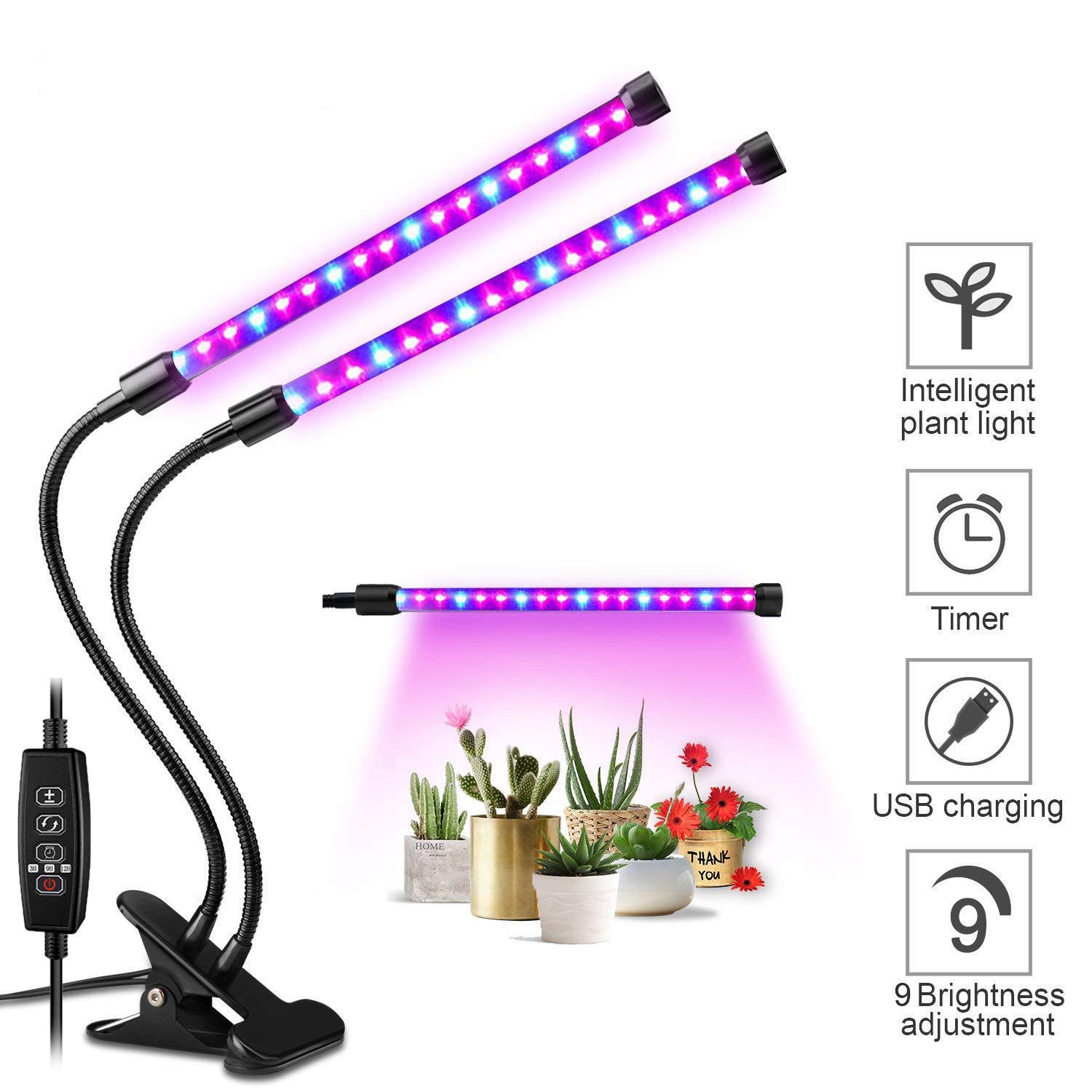 Growing Lamp for Indoor House Plants and Garden, 20W Plant Lights with 40 Red Blue Spectrum LEDs, Adjustable Dual Head Gooseneck Fixture Kit with Stand, 9 Dimmable Levels 3/9/12H Timer LED Grow Light