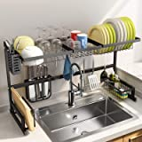 """Over The Sink Dish Drying Rack, SNTD Width Adjustable(32""""≤Sink Size ≤ 40"""") Stainless Steel Kitchen Supplies Storage Counter O"""