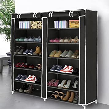 Blissun 7 Tiers Shoe Rack Shoe Storage Organizer Cabinet Tower With  Nonwoven Fabric Cover, Black