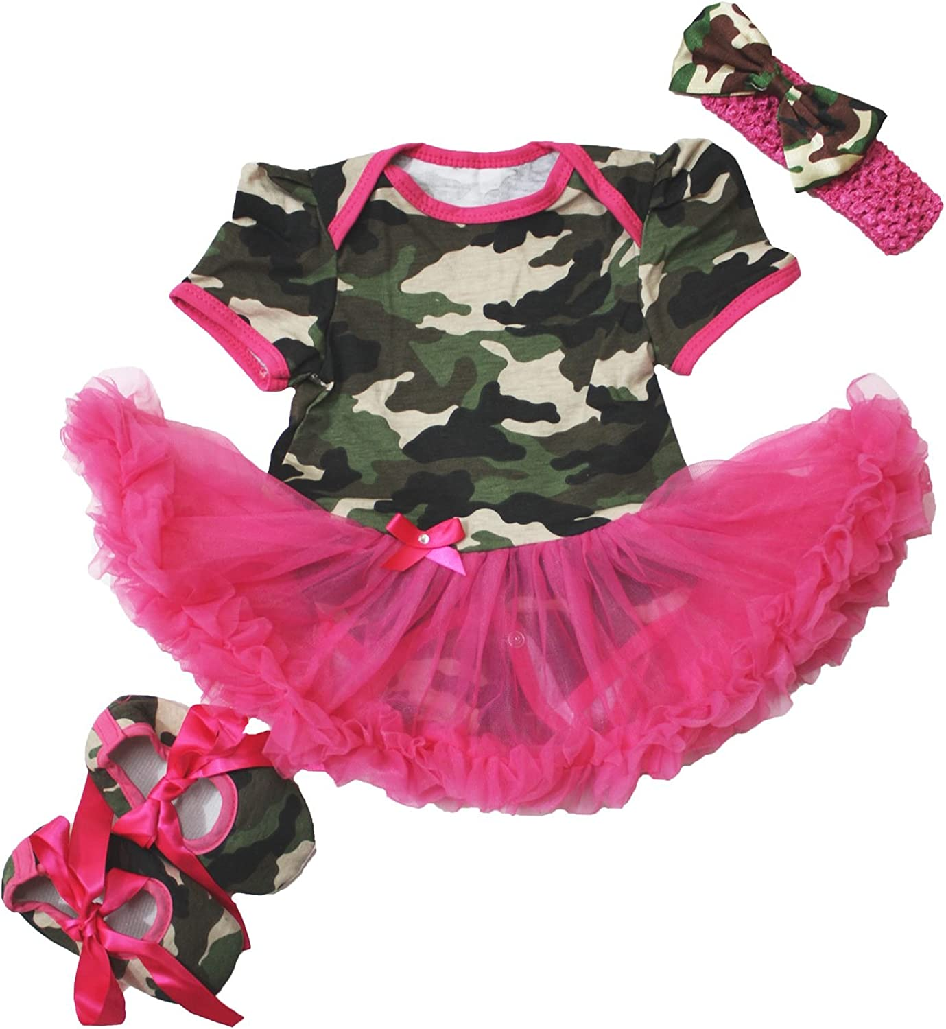3-6month Camouflage Hot Pink Bodysuit Jumpsuit Romper Girl Cloth Baby Dress Shoes Nb-18m