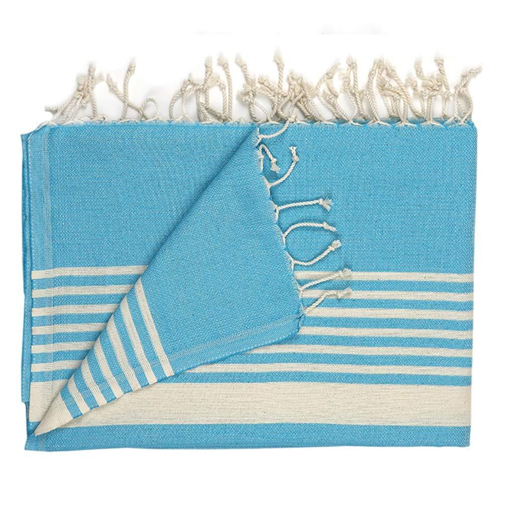 Eselba Multipurpose Bath Izmir Beach 74x37 Yoga Mat Cover Pesthemal Fitness Oversized Certified Organic Hammam Towel Extra Long Blue-Ecru Striped 190x95 cm. Spa