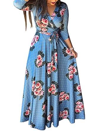 376ae256cfc79f MISOMEE Damen Blumen Grid Druck Taille Krawatte Wickel Maxikleid:  Amazon.de: Bekleidung