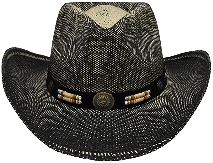 FOX Outdoor Cappello militare uomo donna di paglia black brown STRAW HAT  TEXAS  Amazon.it  Abbigliamento cbdf7bf3f1c9