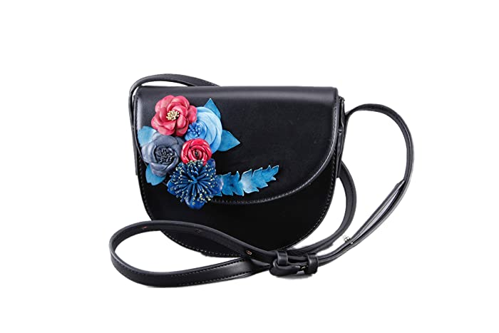 995ee1c1ac Floral Black Genuine Leather Crossbody Bag Cross Body Small Saddle Satchel  Girl Friend Mom Wife-Women Vegan Shoulder Handbag Rose Phone Purse Evening  Party ...