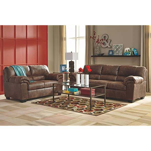 Ashley Furniture Signature Design - Bladen Contemporary Plush Upholstered Loveseat - Coffee Brown