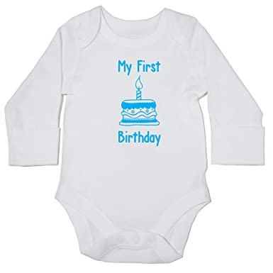 7354b19c0 Hippowarehouse My First Birthday (Sky Blue) Baby Vest Bodysuit (Long  Sleeve) Boys Girls: Amazon.co.uk: Clothing