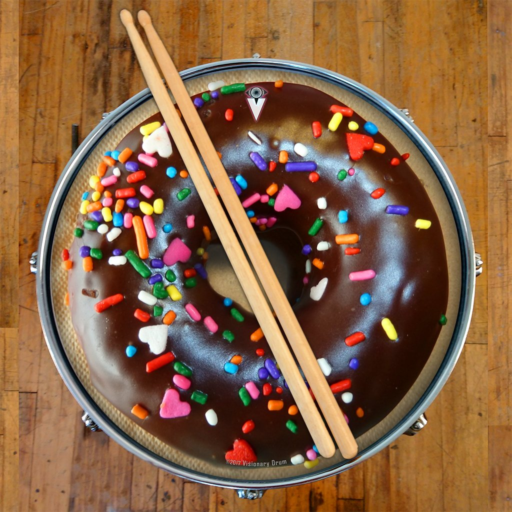 Chocolate Donut Graphic Drum Skin Playable Art Decal All Sizes 16