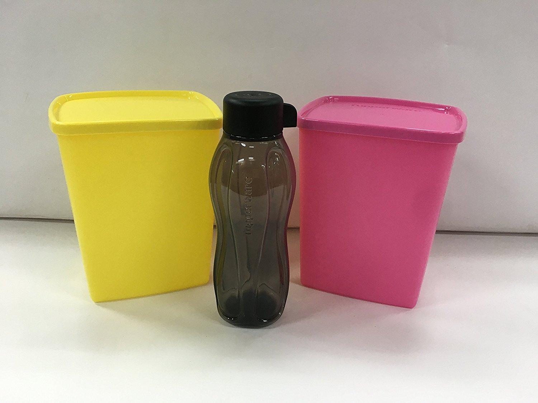 Tupperware Cool N Fresh Tall 1.5litre、2のセット、ピンク&イエローカラー+ 310 mlブラックボトル1個フリー B0755GSFN5