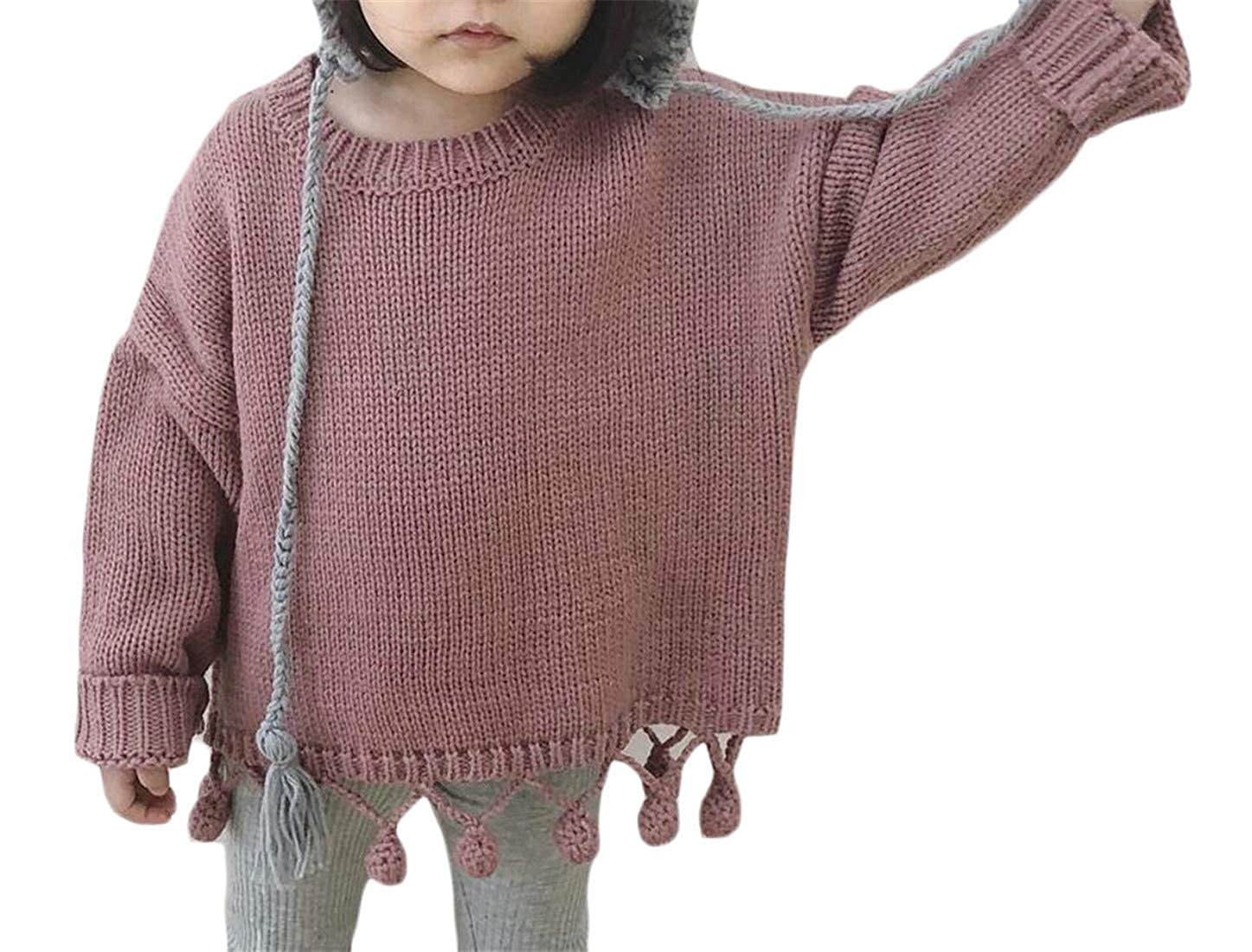 Joe Wenko Girl Loose Pure Color Knits Pompom Crew Neck Pullover Sweaters