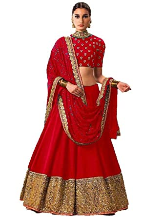 4406b71ab8 Look N Buy red Bangalore Silk Embroidered Lehenga Choli: Amazon.in:  Clothing & Accessories