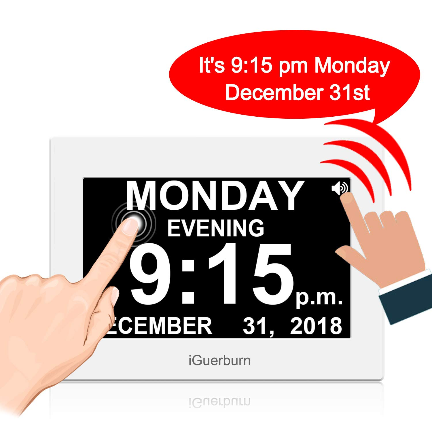 iGuerburn Talking Touchscreen 8' Digital Day Calendar Alarm Clock Seniors Elderly Dementia Alzheimer' s Memory Loss Visually Impaired Blindness (White)