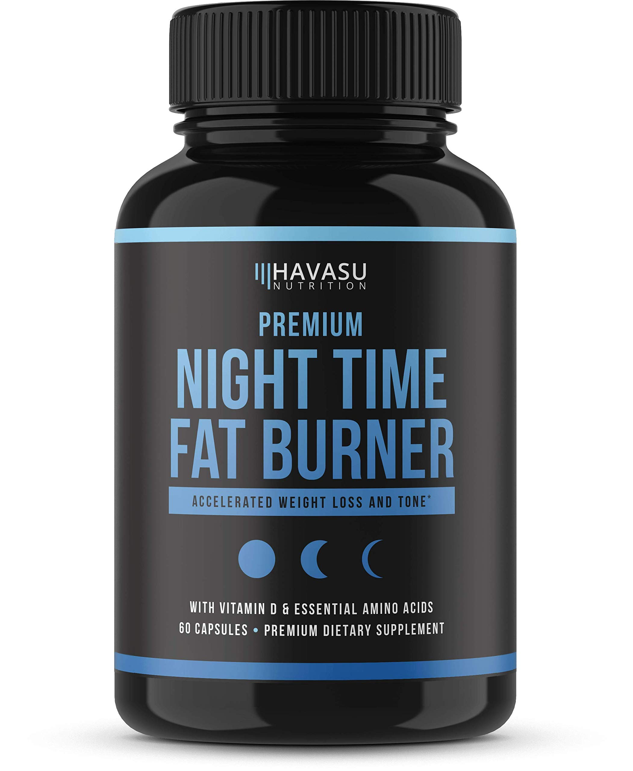Havasu Nutrition Premium Night Time Weight Loss Pills with Vitamin D, Green Coffee Bean Extract, White Kidney Bean Extract, L-Tryptophan, Melatonin- Non Habit Forming PM Fat Burner, 60 Capsules by Havasu Nutrition