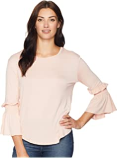 e5ce97fb372 ALEXANDER JORDAN Women's Long Sleeve Top with Ruffle and Smocked Sleeve