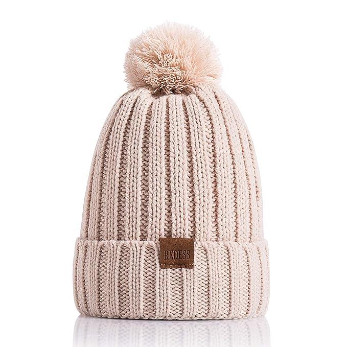 c892516a214 REDESS Women Winter Pom Pom Beanie Hat with Warm Fleece Lined