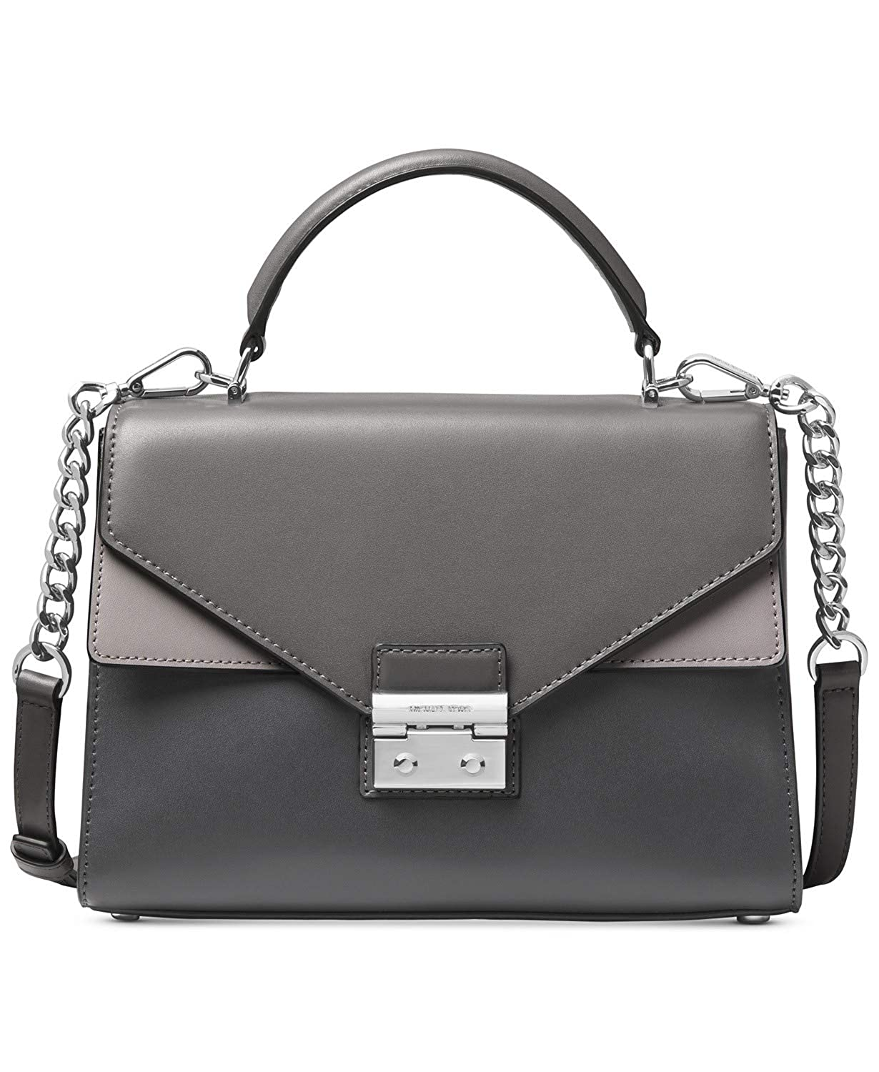 78e7d6ce504366 Michael Michael Kors Sloan Medium Double Flap Top Handle Leather Satchel  Charcoal Multi: Handbags: Amazon.com