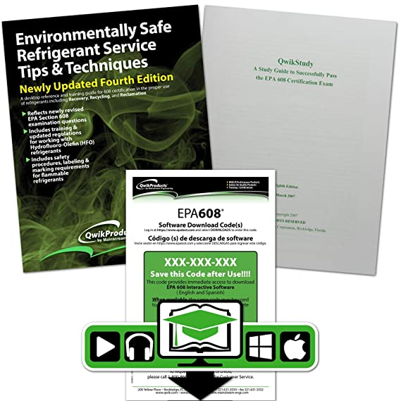 Qwik608tm Epa 608 English Study Kit Reference Manual Cd Dvd Study