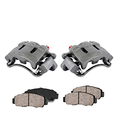 CCK11494 [2] FRONT Premium Loaded OE Remanufactured Caliper Assembly Set + Quiet Low Dust Ceramic Brake Pads: Automotive
