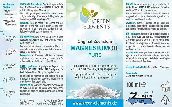 Aceite de magnesio PURO de Zechstein. 100 ml de agua salina natural con aceite de magnesio en frasco pulverizador a modo de aerosol: Amazon.es: Salud y ...