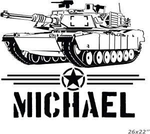 USA Armed Forces Tank Boy Name Personalized Wall Sticker Decal-M1A1 Abrams Tank Decal Vinyl Sticker for Nursery-Custom Desing-Made in USA