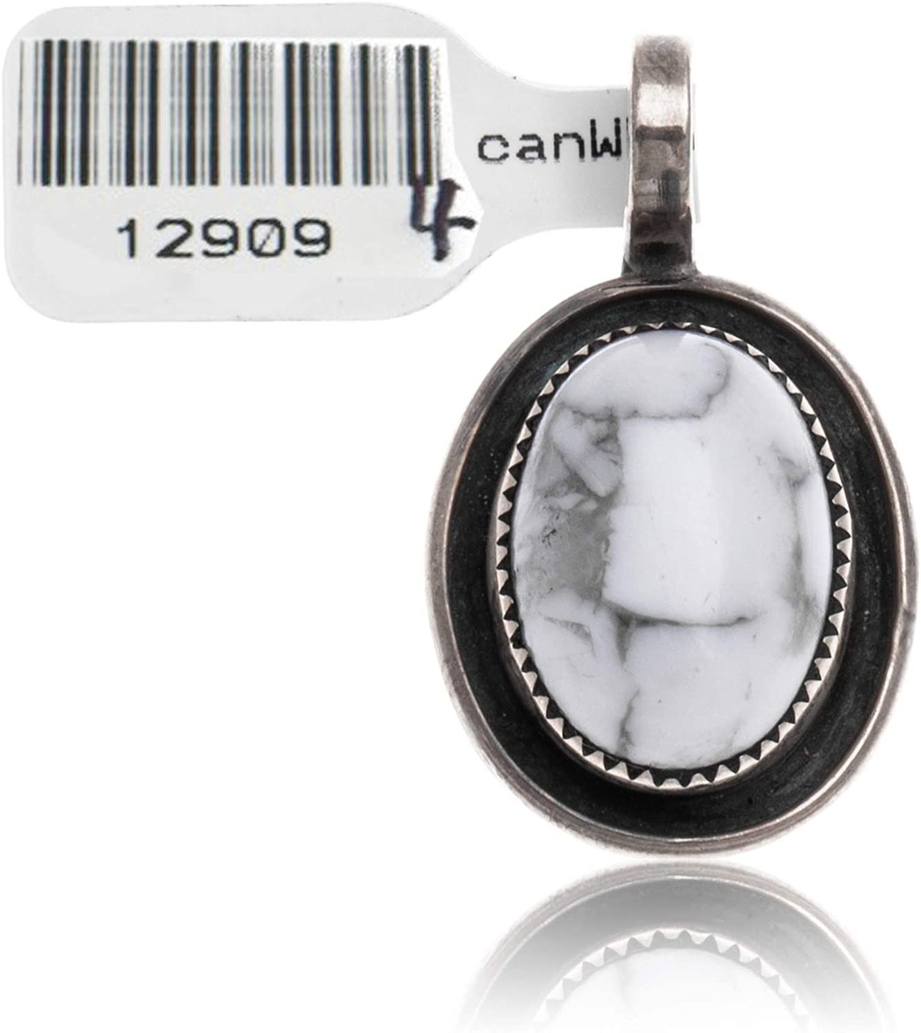 $100Tag White Howlite Silver Certified Navajo Native American Pendant 12909-4 Made by Loma Siiva