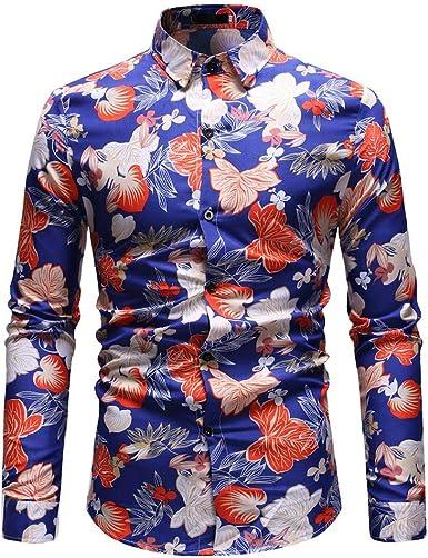 Manga Larga Hombres con Bolsillo Camisa Oxford Estampado ...