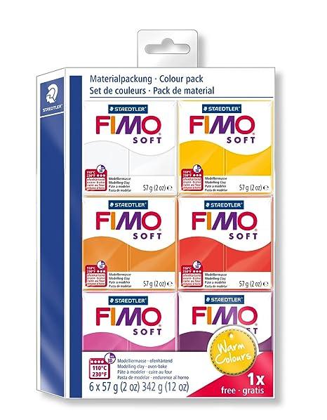 Staedtler FIMO Soft, Assortiment de 6 pains de pâte FIMO, Couleurs chaudes,  8023 23