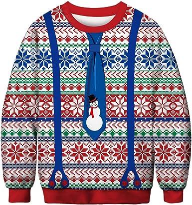 Sudadera Unisex FEA de Navidad 3D Divertido gráfico Impreso Cuello Redondo suéter suéter Elegante Novedad Navidad suéter Camisa para Fiesta: Amazon.es: Ropa y accesorios