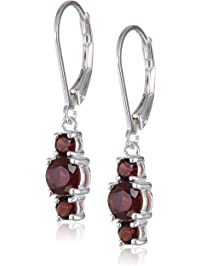 Sterling Silver Round 3mm Three-Stone Dangle Lever Back Hoop Earrings