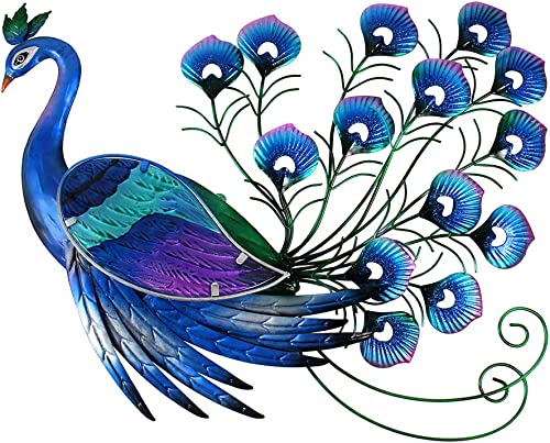 Liffy Outdoor Peacock Metal Wall Art Outside Glass Hanging Decor Blue for Home, Garden or Front Door
