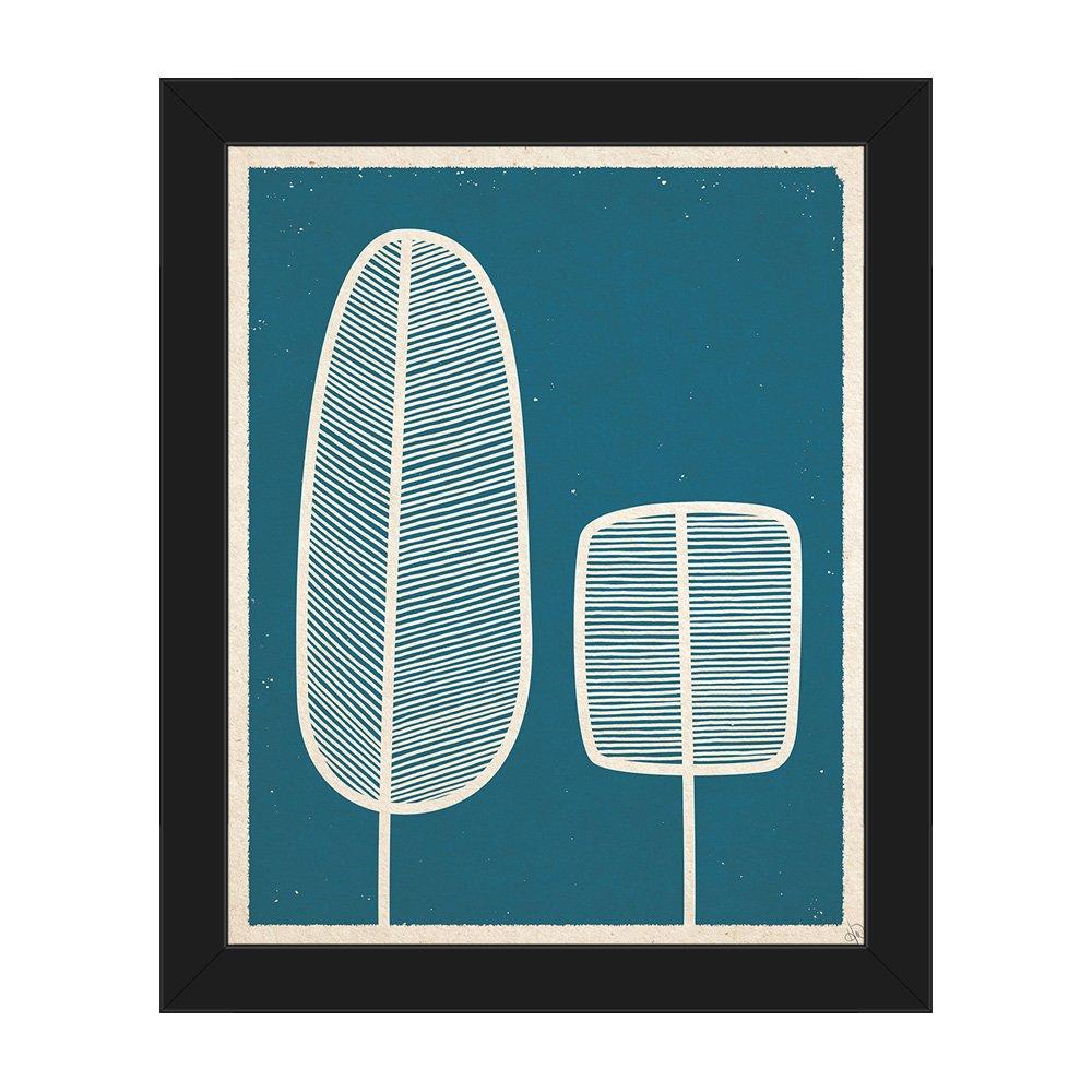 フェザーツリーブルー: mid-centuryレトロモダンポストモダン抽象Painting Drawing Illustration on Teal壁アートプリント 8x10 RET0000238FRM08X10SBK 8x10 ブラックのフレーム付き(Framed in Black) B01M2U0NDT