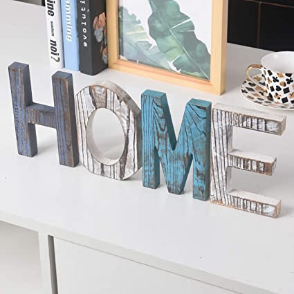 rhf wood standing cutout letter decor rustic home decorfamily signsshelf decor
