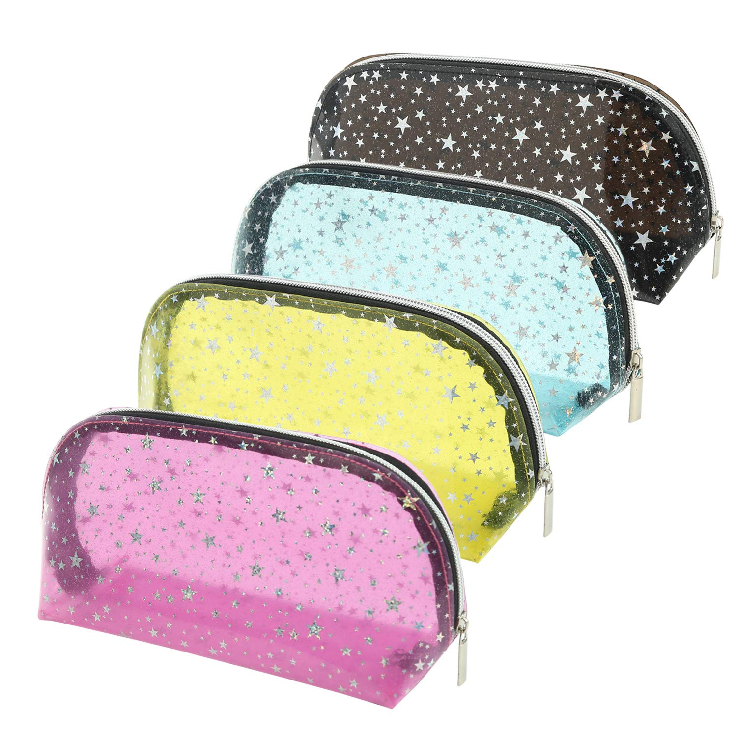4Pcs Women Stylish Cosmetic Bag Waterproof PVC Zippered Travel Toiletry Bag Clear Makeup Bags Pouch for Bathroom, Vacation and Organizing