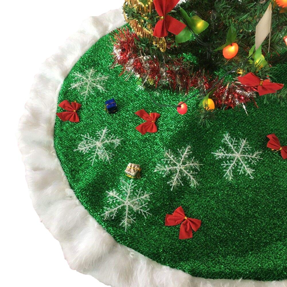 DENTRUN Christmas Tree Skirt Ruffle Edge Border Round Indoor Outdoor Mat,Luxury Plush Faux Fur Snowy Fabric with White Snowflake Handmade for New Year Home Decor Party Holiday Decorations