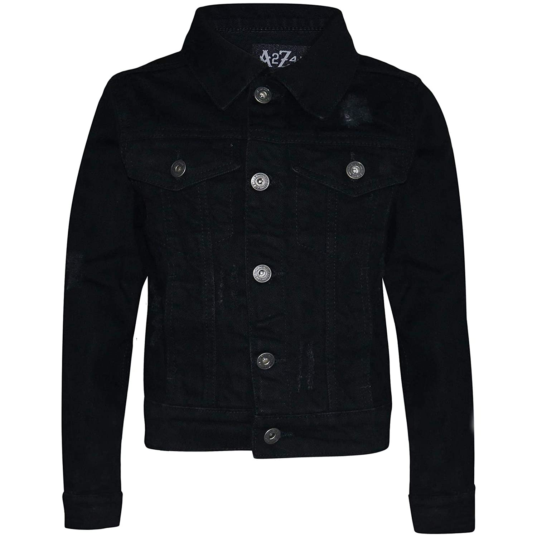 Kids Boys Denim Jackets Designer Jet Black Ripped Jeans Fashion Coat Age 3-13 Yr