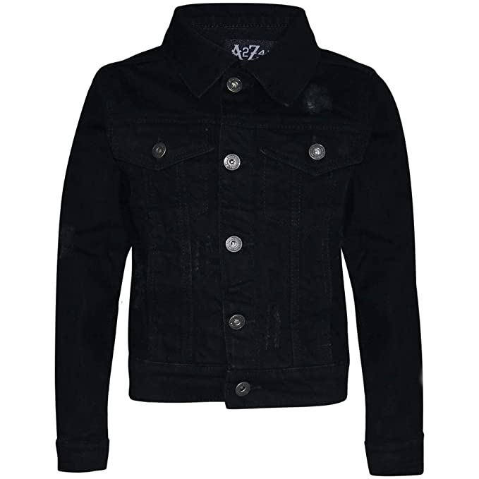 9114f9f4 Amazon.com: Kids Boys Denim Jackets Designer Jet Black Ripped Jeans ...