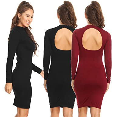 15fa9059c57 Lady S Open Back Long Sleeve Bodycon Dress at Amazon Women s Clothing store