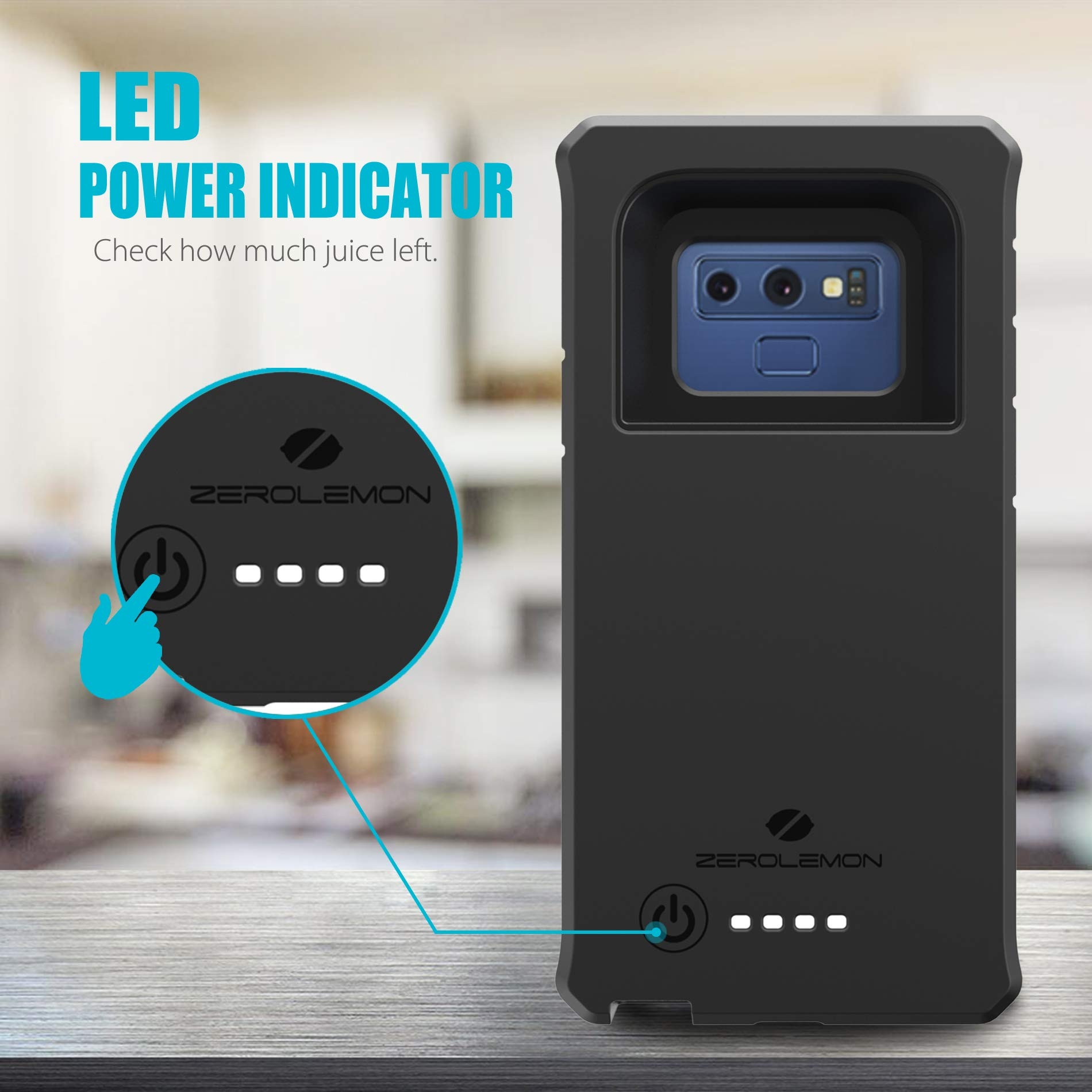 Galaxy Note 9 Battery Charging Case, ZeroLemon ZeroShock 10000mAh Extended Rechargeable Battery Rugged Case with Full Edge Protection for Samsung Galaxy Note 9 - Black by ZEROLEMON (Image #3)