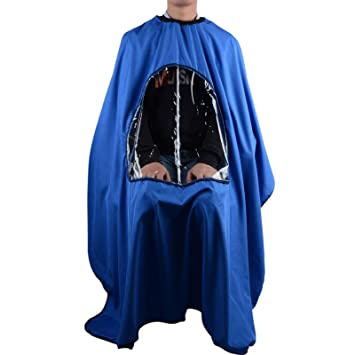 Salon Home Barbers Hairdressing Cape Gown with Viewing Window for Hair  Cutting (Blue)