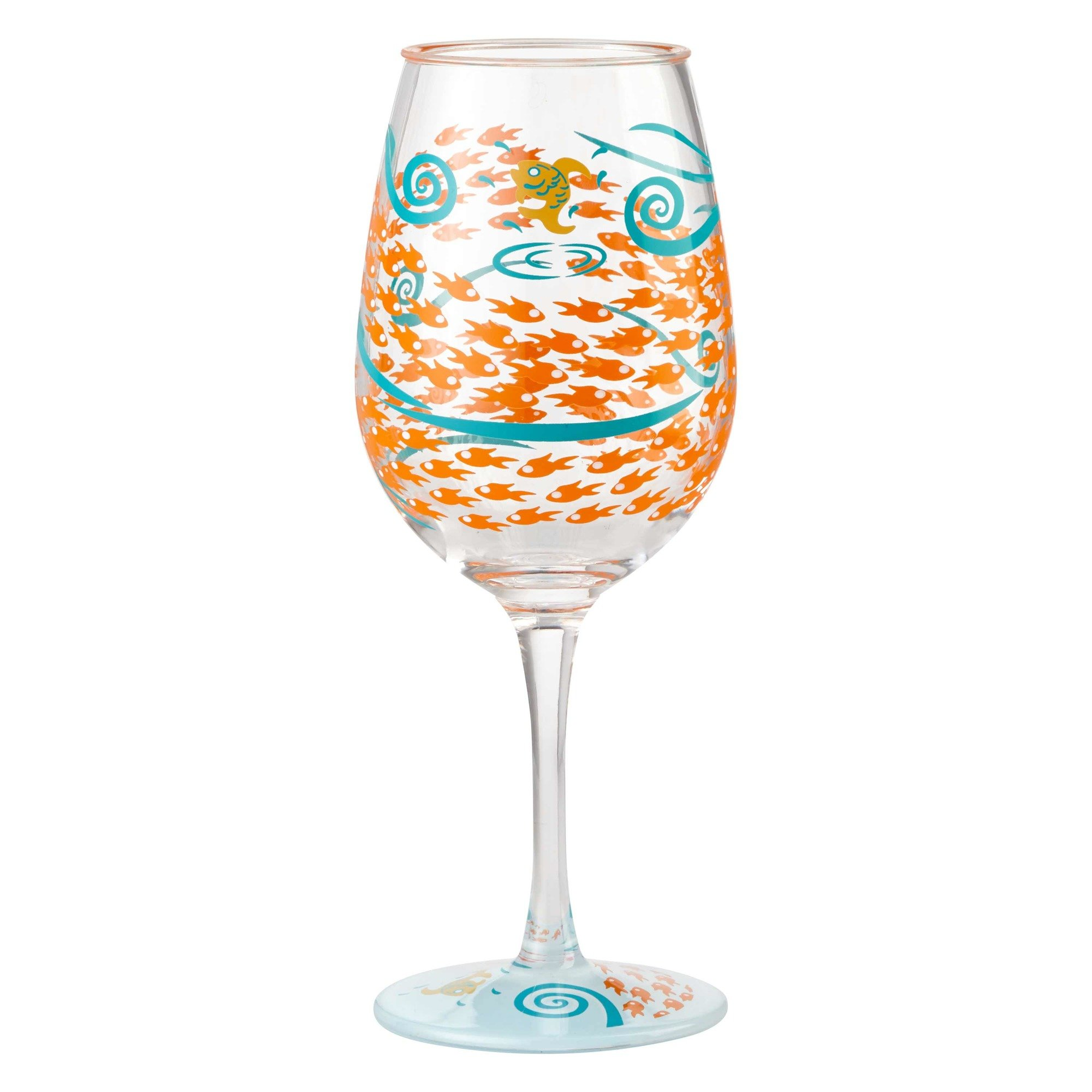 Enesco Designs by Lolita Fish Out of Water Acrylic Wine Glasses, Set of 2, 16 oz.