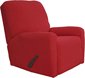 Easy-Going Recliner Stretch Sofa Slipcover Sofa Cover 4-Pieces Furniture Protector Couch Soft with Elastic Bottom Kids,Polyester Spandex Jacquard Fabric Small Checks(Recliner,Christmas Red)