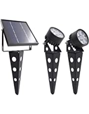 Legacy Mini 50X Twin Solar-Powered LED Spotlight (Warm White LED), Black Finish, Outdoor Garden Yard Landscape Downlight