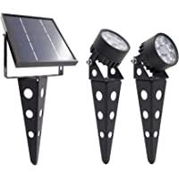 Legacy Mini 50X Twin Solar-Powered LED Spotlight (Warm White LED), Black Finish, Outdoor Garden Yard Landscape Downlight