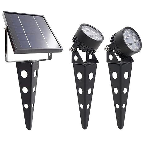 new arrival 8566b 881bf Mini 50X (3.0) Twin Solar-Powered LED Spotlight (Warm White LED), Black  Finish, Outdoor Garden Yard Landscape Downlight
