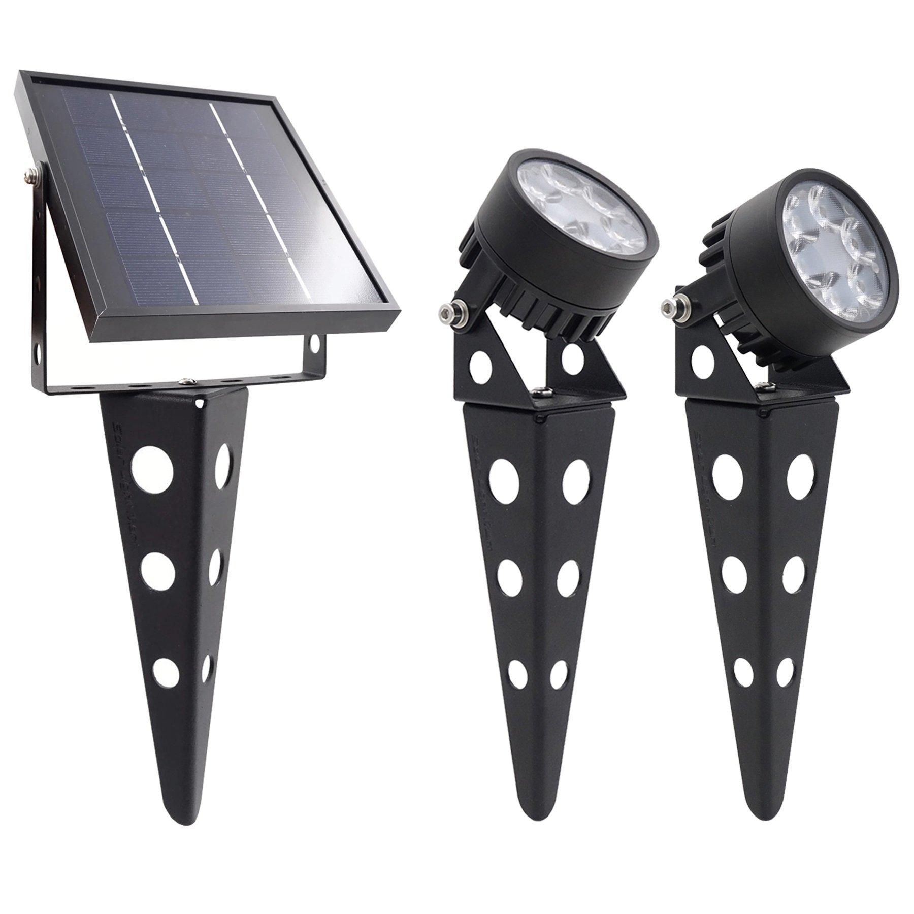Legacy Mini 50X Twin Solar-Powered LED Spotlight (Warm White LED) for Outdoor Garden Yard Landscape Downlight, Black Finish