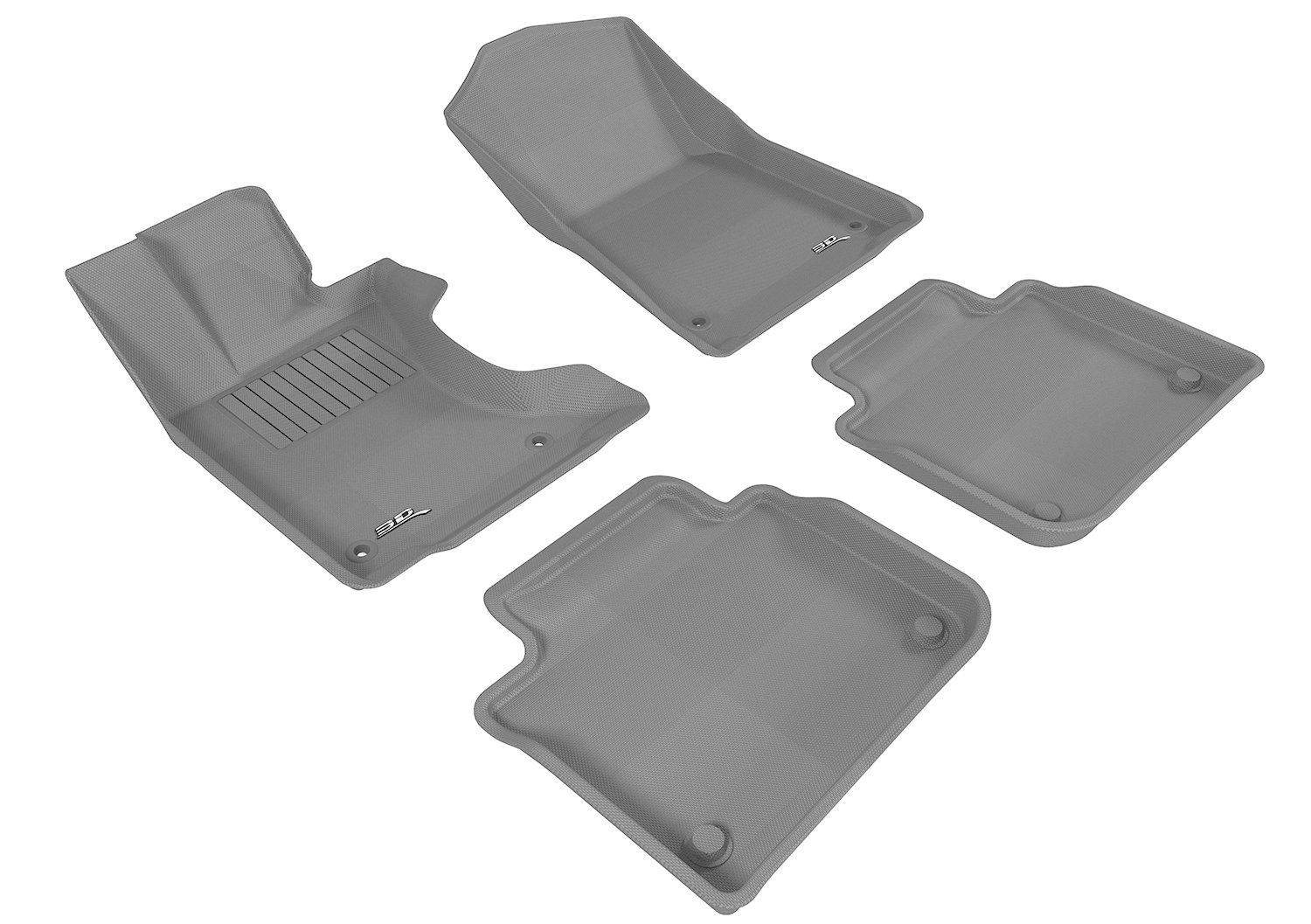 Gray 3D MAXpider Complete Set Custom Fit All-Weather Floor Mat for Select Lexus GS// GS Hybrid AWD Models Kagu Rubber