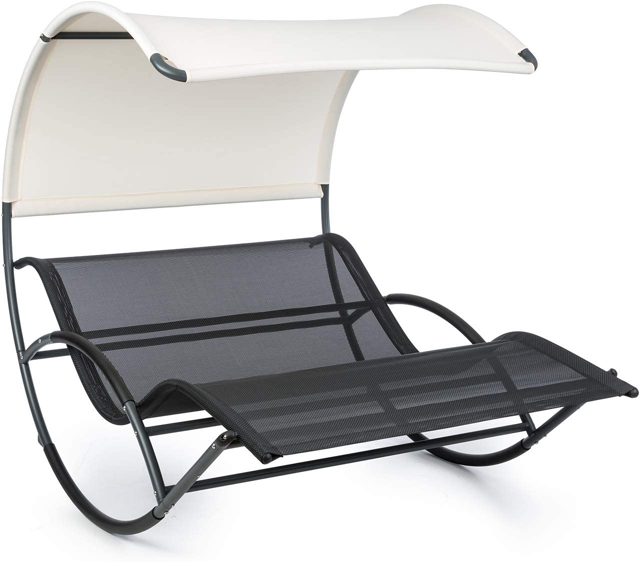 Blumfeldt The Big Easy - Tumbona techada, Mecedora ergonómica, Uso Recomendado Exteriores, Impermeable, Protección Rayos UV, Estructura de Acero, Peso máx. soportado 350 Kg, Negro