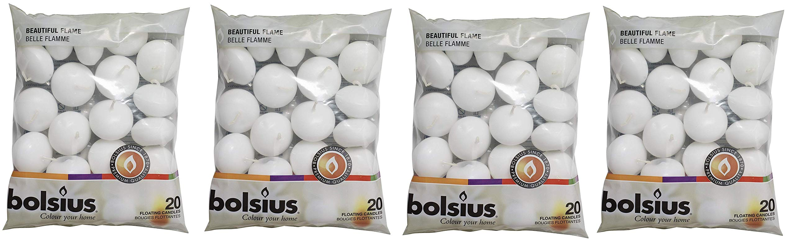 BOLSIUS Unscented Floating Candles – Set of 20 White Floating Candles – Cute and Elegant Burning Candles – Candles with Nice and Smooth Flame – Party Accessories (Fоur Расk)