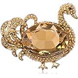 Alilang Womens Rose Gold Tone Topaz Colored Rhinestones Duck Swan Bird Brooch Pin