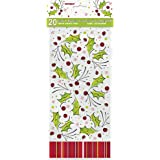 Holly Pop Holiday Cellophane Bags, 20ct